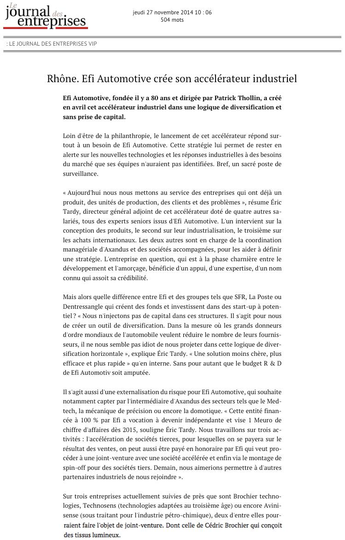 Le Journal des Entreprises - 27.11.2014